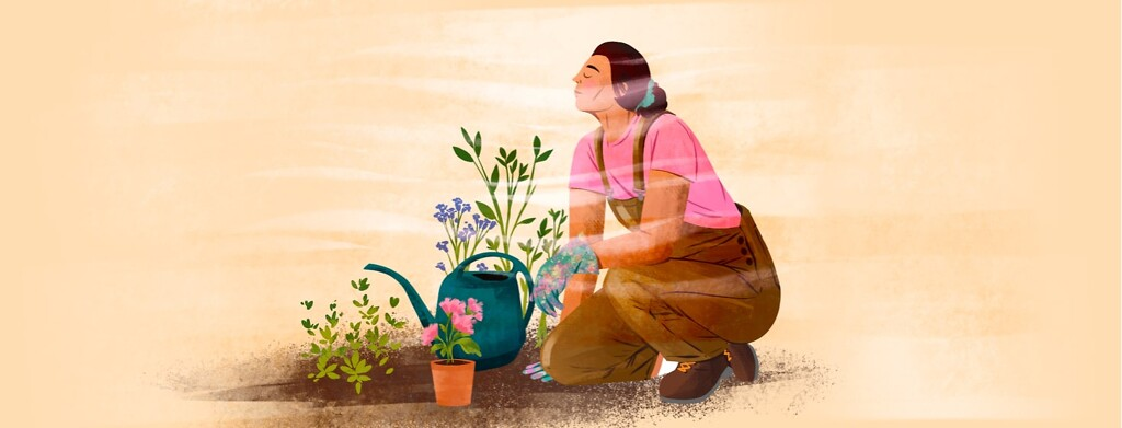 alt=a woman pauses gardening to close her eyes and meditate.