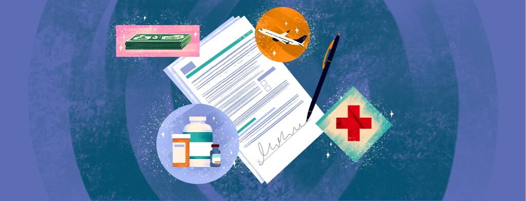 alt=a pen is signing a patient assistance application. Bottles of medicine, a stack of money, an airplane, and a red cross sparkle around the papers.