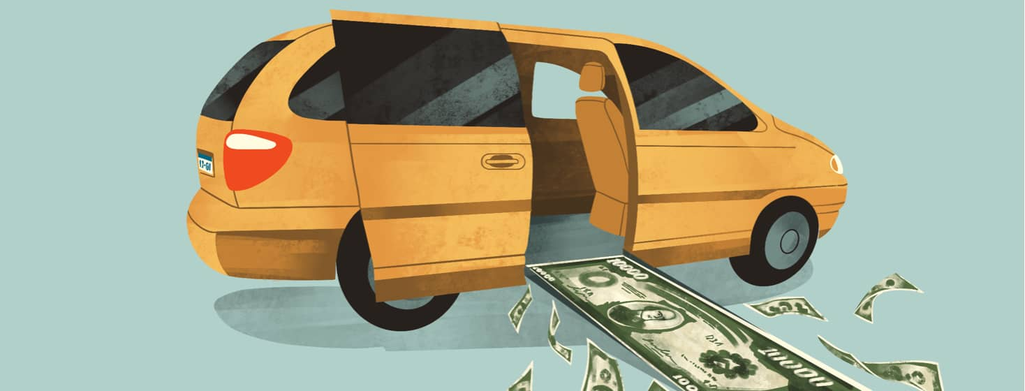alt=a wheelchair accessible minivan has the side door open with a ramp extending, featuring a $10,000 bill and money flying around it.