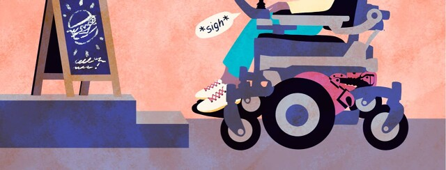 alt=a person in a motorized wheelchair is prevented from entering a restaurant because of lack of accessibility
