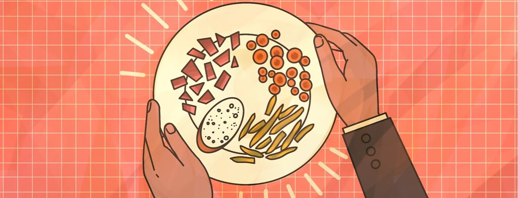alt=a waiter holds a plate of food all cut up into tiny pieces for easier eating