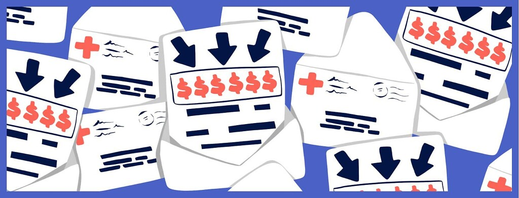 Urgent-looking bills in envelopes.