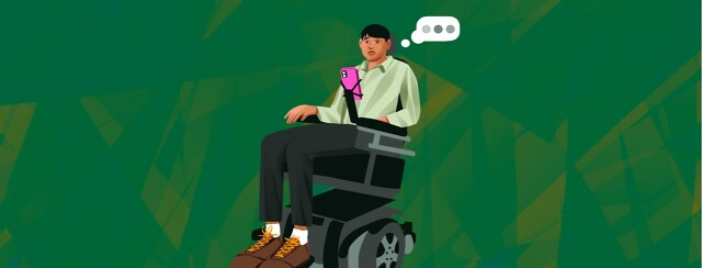 alt=a well-dressed man sits nervously in a motorized wheelchair, looking at his phone and thinking.