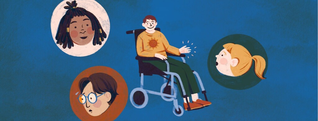 alt=a smiling man in a wheelchair waves to faces of other people portraying a range of expressions.
