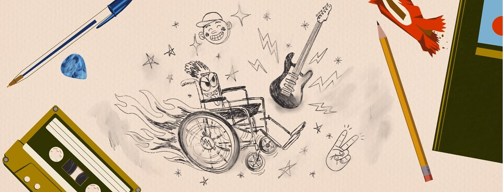 alt=doodles of a racing wheelchair and electric guitar are surrounded by various school items.