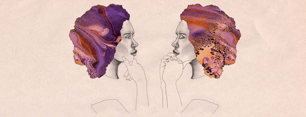 Mirrored image of a woman with her hand on her chin, thinking.